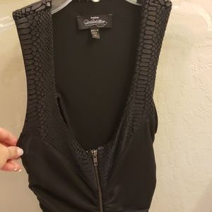 Bebe Black faux snakeskin looking dress size XS